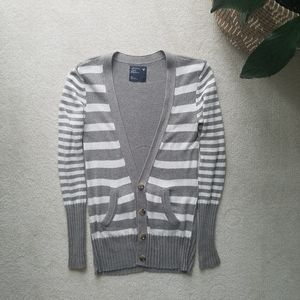 American Eagle Gray White Striped Long Cardigan